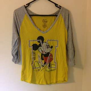 Yellow Mickey Mouse Long Sleeved Shirt