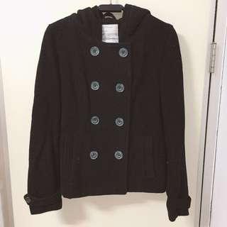 aéropostale  58%  羊毛  雙排扣  大衣  外套  內裏桃紅色