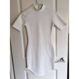 Tight White High Neck Dress
