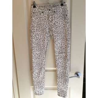 Grey And White Leopard Print Tight Jeans