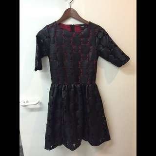 Asos Black Lace Skater Dress Faux Leather With Burgundy Underlay