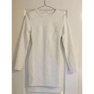 Mossman White Tight Patterned Long Sleep Dress
