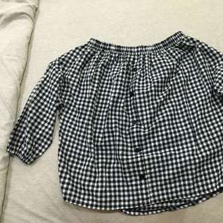 Off Shoulder Checkers Top
