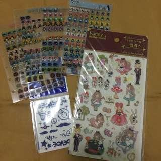 愛麗絲夢遊仙境 Pingu Pinga 貼紙 可爾必思紋身貼紙 Pingu 6孔內頁夾/套