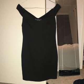 Topshop Black Off The Shoulder Dress