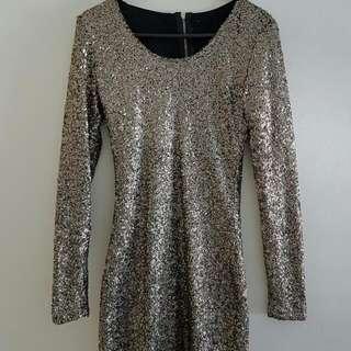 Rockstar Gold Sequin Dress size small