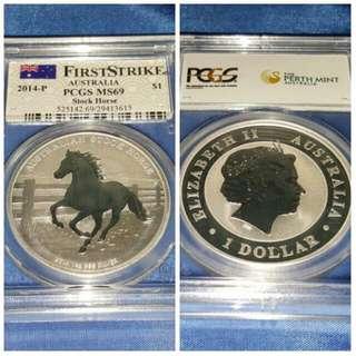 2014 - P Australia Stock Horse PCGS MS69 Silver BU coin. **Price Reduced**