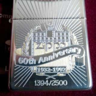 全新 ZIPPO 60週年 (60th Anniversary)純銀 (Logo 鍍24K金) 打火機