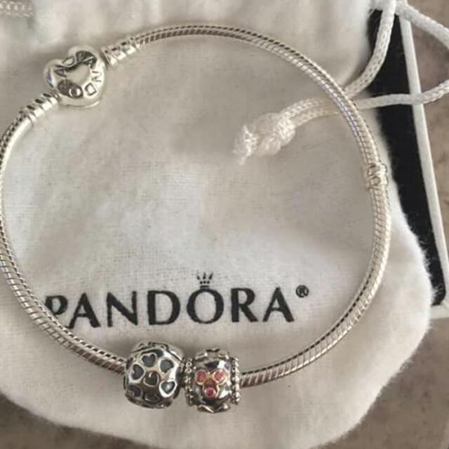 "20"" Pandora Bracelet with 2 charms (1 with gold mother charm)"