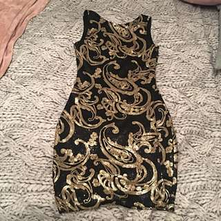 Size S Sequin Paisley Gold And Black Dress