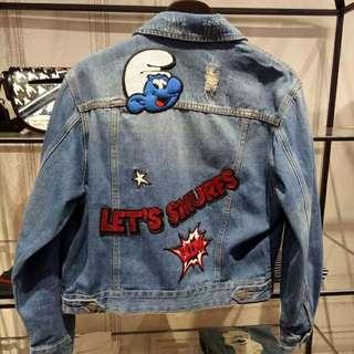 復古藍色小精靈牛仔外套