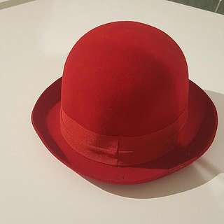 Red Felt Bowler Hat