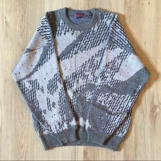 日本 馬賽克抽象幾何古著毛衣 針織
