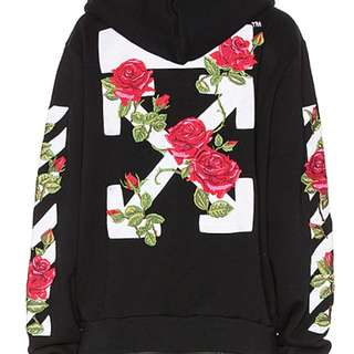 off-white floral hoodie - rose