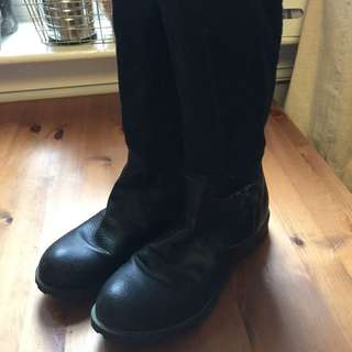 Shin-length Black Boots (size 6.5-7)