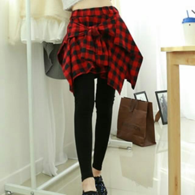 (33406)不等式格子短裙拼打底褲 假兩件套(兩色)