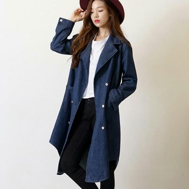 (33467)長袖牛仔雙排扣外套(藍色)