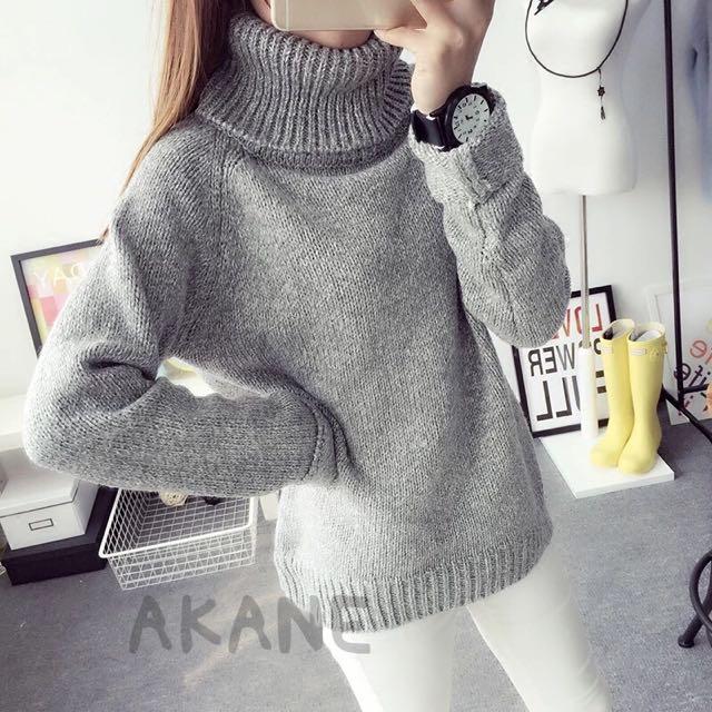 韓版學院風高領寬鬆套頭毛衣💖