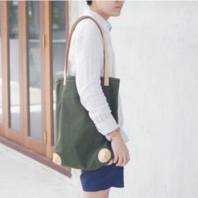 ✨保留✨極簡皮革帆布托特包-橄欖綠色