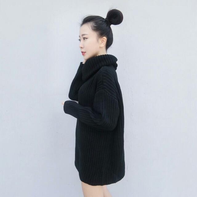 全新轉售 厚針織長版高領毛衣
