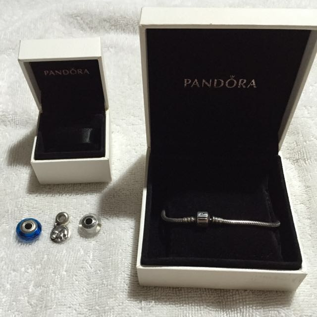 Authentic Pandora Bracelet With 3 Charms