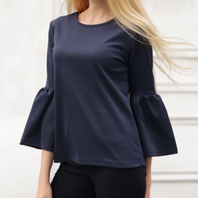 Babydoll Top Bell Sleeve Navy Blue Size S M L Free Size