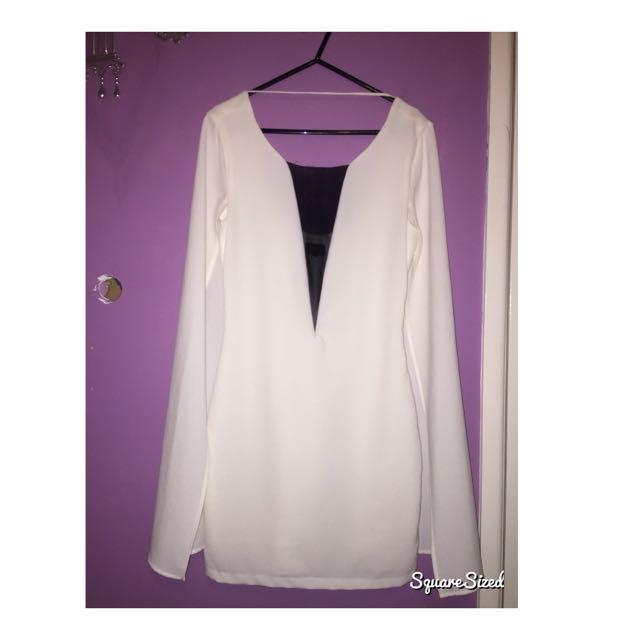 Bardot White Cape Dress