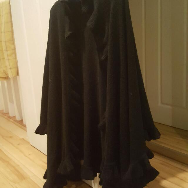 Black Ruffle Trim Knit Pancho Like Shawl
