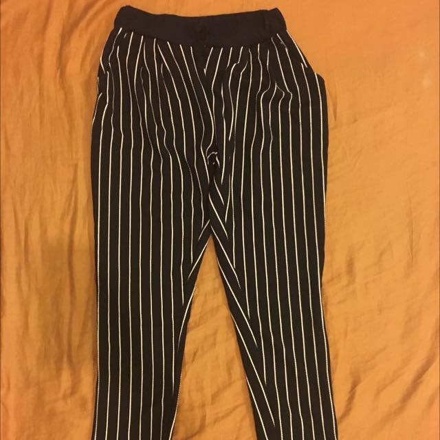 Black And White Stripe Slacks
