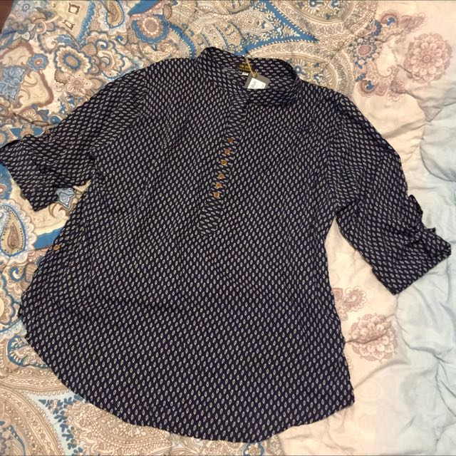 Blue 3/4 Blouse With Buttons