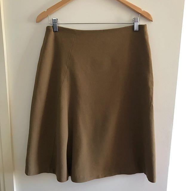 Free Shipping Chelsea Vintage 40s Khaki Midi Skirt