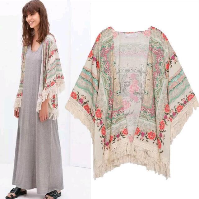 Chiffon Flowery Beach Kimono