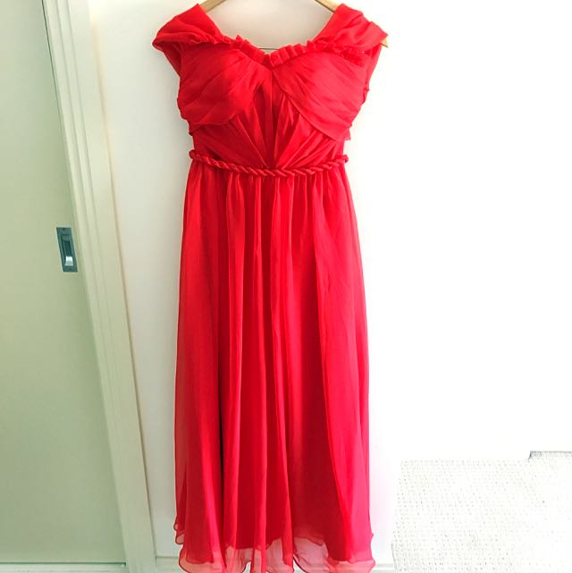 Free Shipping Classic Red Chiffon Dress