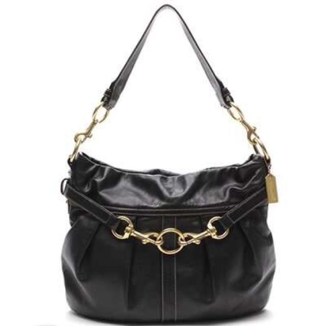 Coach Black Leather Pleated Hobo Bag
