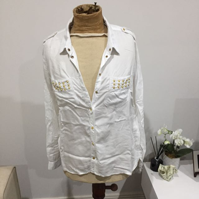Country Road White Detailed Shirt