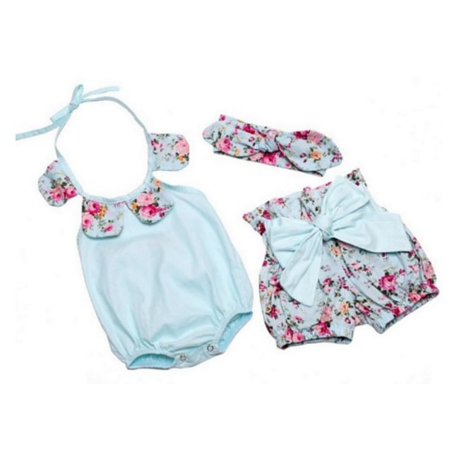 Floral blue romper, shorts and headband