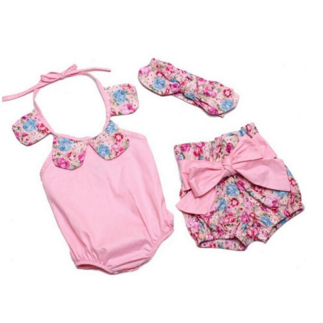 Floral pink romper, shorts and headband Cotton 7-9 months old $25 incl GST