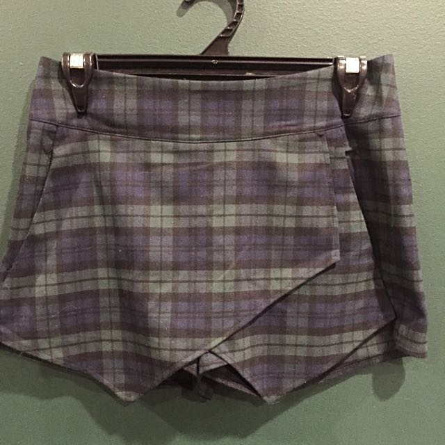 Green Plaid Mini Shorts