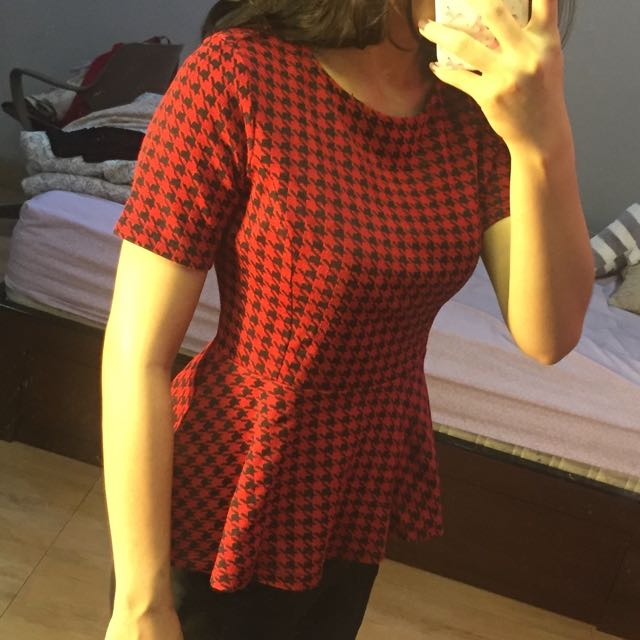 Houndstooth Forever 21 Peplum Top