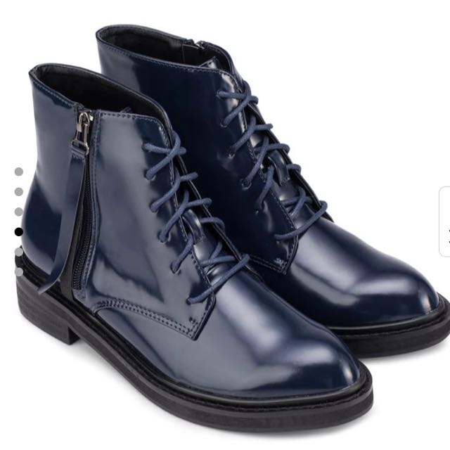 Lace Up Navy Boots Size 38