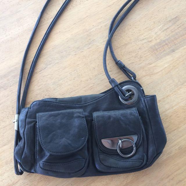 Mimco Black Leather Shoulder Bag