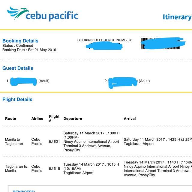 2 Tickets MNL-TAG BOHOL-MNL (Cebu Pacific) March 11-14, 2016