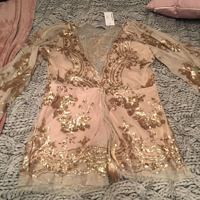 New With Tags, Whitefox Boutique Gold Sequenced Jumpsuit