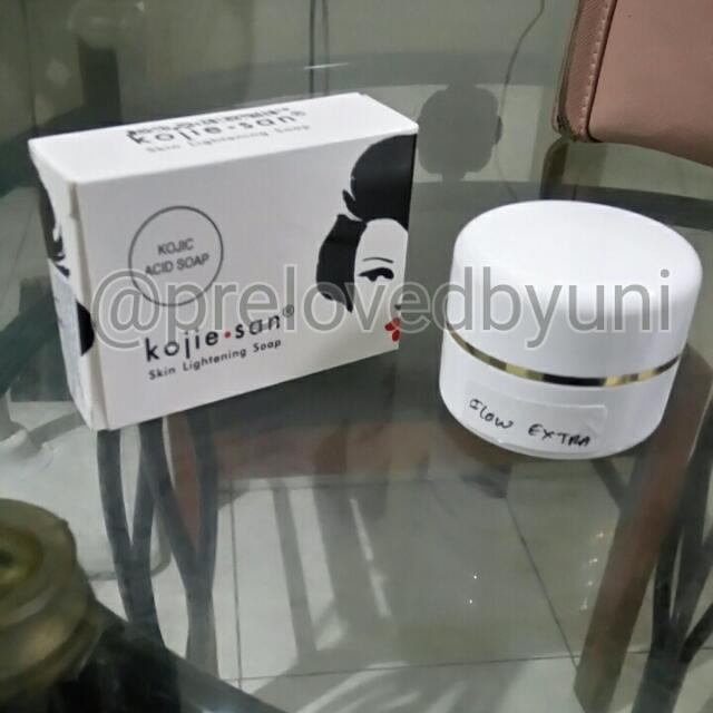(Paket) Cream Glow Extra & Kojie San Whitening Soap