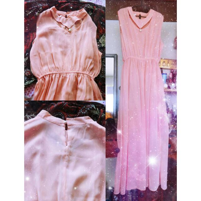 Peachy pink long dress (pastel-colored)
