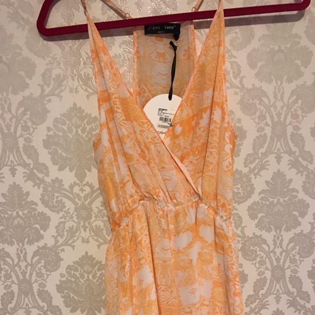 Piperlane Silk Orange Play suit Size 6 New