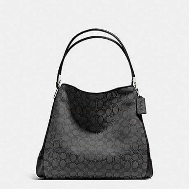 Signature Phoebe Shoulder Bag Black (Coach) with Paper Bag ,Coach Card and Tag Price