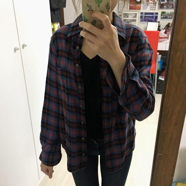 Uniqlo 冬天 格子襯衫