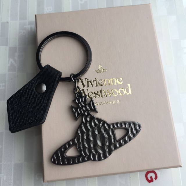 英國時尚品牌vivienne westwood 不敗經典款 皮件金屬土星環鑰匙圈 聖誕交換禮物