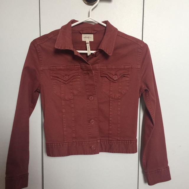 "Wilfred Free Aritzia Red/pink ""denim"" Jacket Size 2"